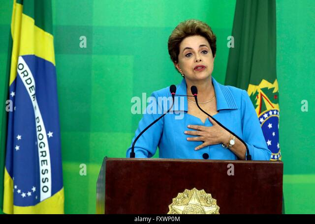 Brasilia, Brazil. 18th Apr, 2016. Brazilian President Dilma Rousseff during a press conference responding to her - Stock Image
