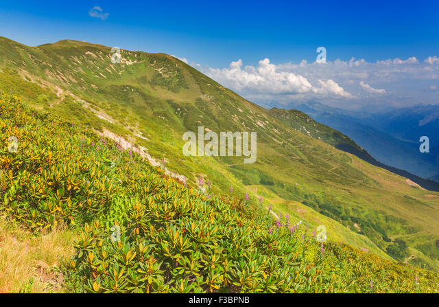 Beautiful landscape with green hills and mountais - Stock Image