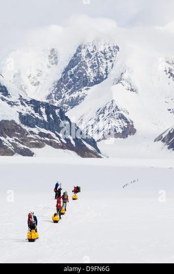 Climbing expedition leaving base camp on Mount McKinley, 6194m, Denali National Park, Alaska, USA - Stock-Bilder