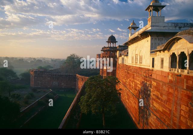Agra Fort at dawn, Agra, India - Stock-Bilder