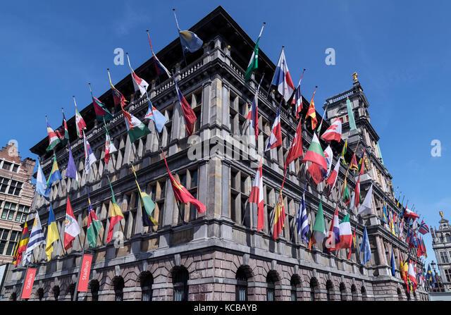 Antwerp - Belgium. The Stadhuis (City Hall) of Antwerp in the Grote Markt. The Stadhuis is a UNESCO World Heritage - Stock Image