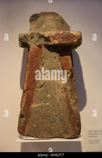 Punic. Altar for offering libations or burning perfumes. Sandstone. 5th-4th century BC.  Spain. - Stock Image