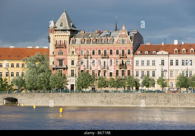 Stare mesto and vltava river - Stock-Bilder