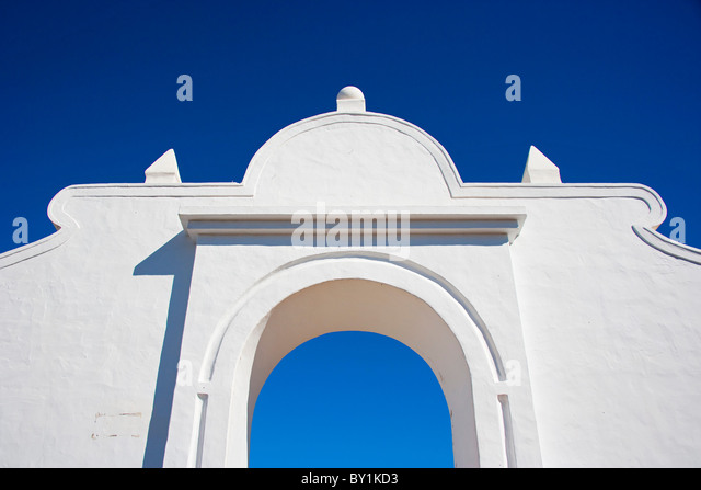 Architecture detail in the town of Teguise in Lanzarote Island. - Stock Image