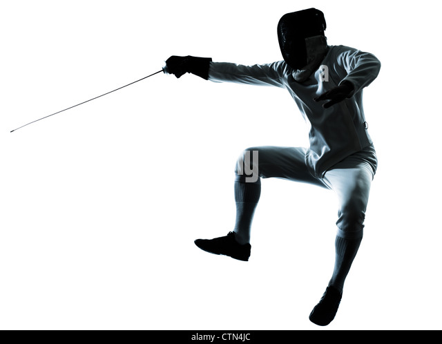 one man fencing silhouette in studio isolated on white background - Stock Image