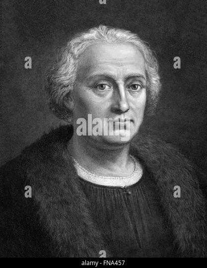 Christopher Columbus. Etching by F. Focillon after painting by Bartholomeo de Suardo, 1892 - Stock-Bilder