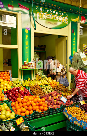 The Food Market, Ermoupolis, Syros Island [ Σύρος ] , Greek Cyclades Islands - Stock Image