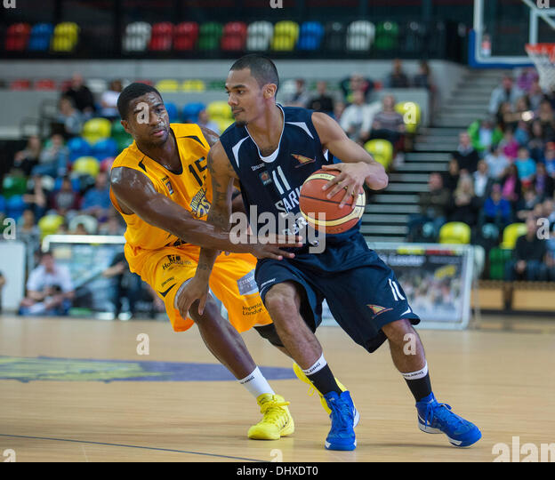 London, UK. 15th November 2013.   Sharks' Guard Nick Lewis [11] in action during the British Basketball League - Stock Image