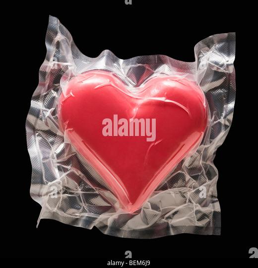 Shrink wrapped heart - Stock-Bilder