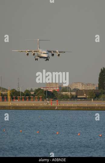 Short final of BAe 146 British Airways at London City Airport UK 2003 - Stock Image