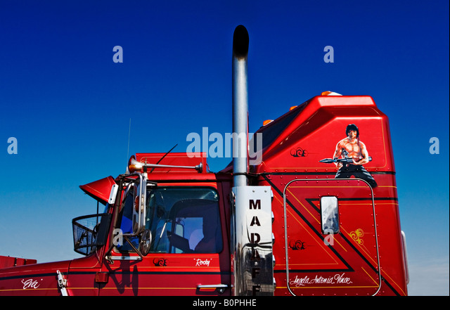 Transportation and Trucking / A close up of detail of a truck Prime Mover. - Stock Image