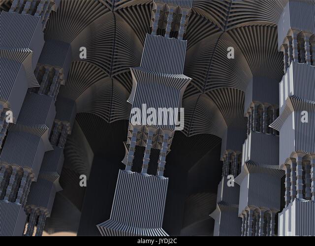 Alien Pillars Abstract Fractal Design - Stock Image