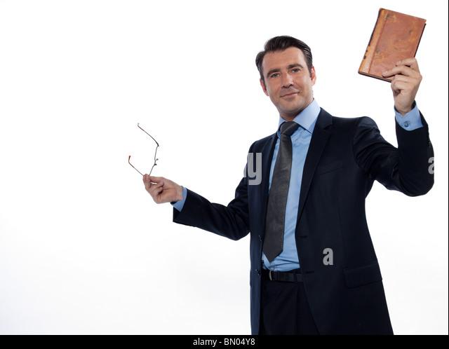 man teacher professor rising book cheerful isolated studio on white background - Stock Image