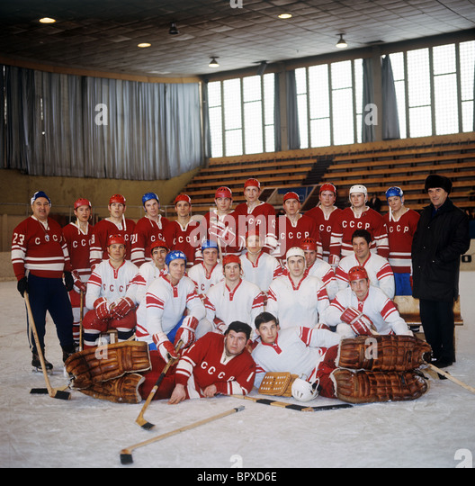 Soviet ice-hockey team, 1970 - Stock Image