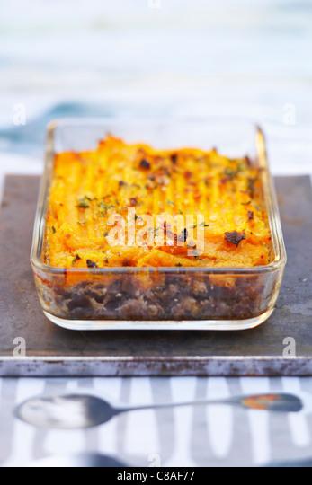 Minced pork shoulderblade bone and mashed sweet potato pie - Stock Image