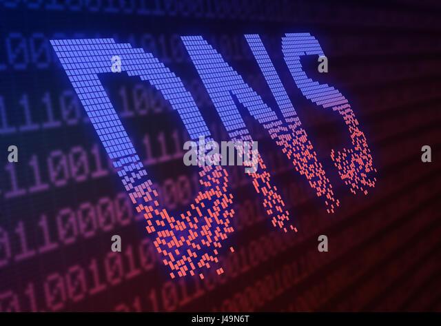 DNS ddos attack - cyber warfare concept 3d illustration - Stock-Bilder