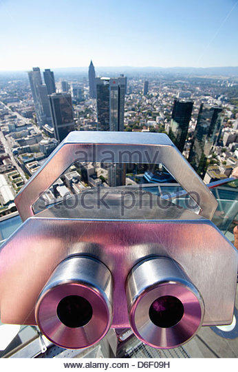 Binoculars telescope cityscape skyline Frankfurt - Stock Image