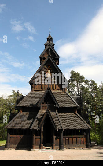Historic Gol Stave Church at the Norwegian Folk Museum in Oslo - Stock Image