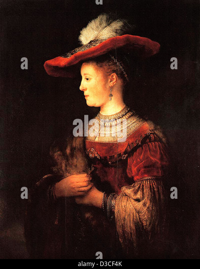 Rembrandt van Rijn, Half-length Figure of Saskia in a Red Hat. 1634 Oil. Baroque. Schloss Wilhelmshöhe, Kassel. - Stock Image