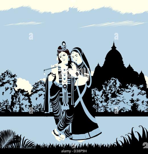 Lord Krishna with Goddess Radha - Stock-Bilder