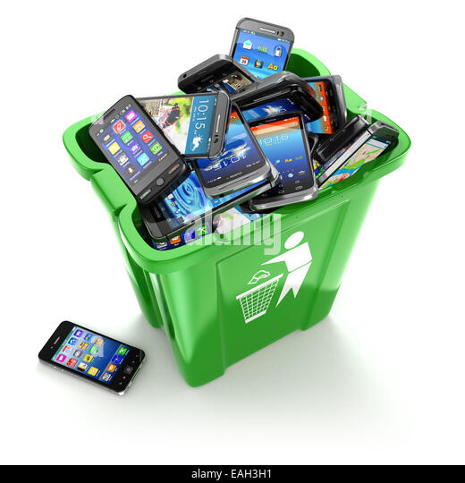 Mobile phones in trash can isolated on white background. Utilization cellphones concept. 3d - Stock-Bilder