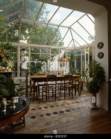 Interiors Conservatory Dining Rooms Floors Stock Photos Interiors Conservatory Dining Rooms