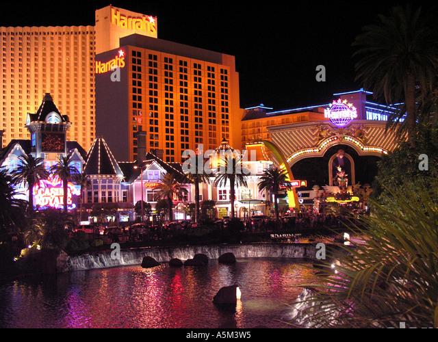 Las Vegas strip night Harrahs - Stock Image