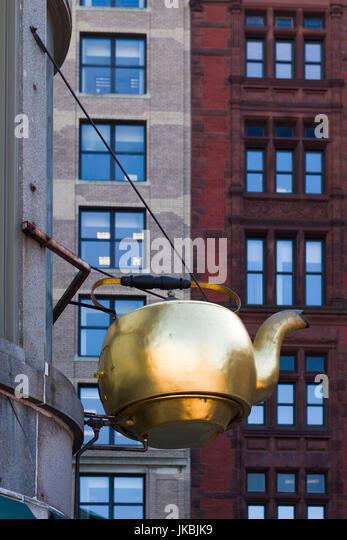 USA, Massachusetts, Boston, sign for the Steaming Kettle cafe - Stock Image