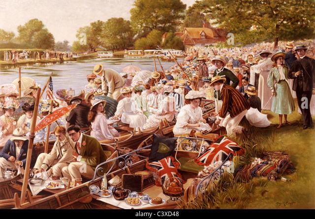 Tea Time at The Cambridge Mays, by Percy Robert Craft. Cheltenham, England, early 20th century - Stock-Bilder