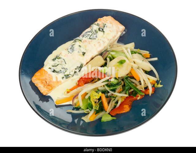 Salmon in Watercress Sauce with Stir Fried Vegetables - Stock Image