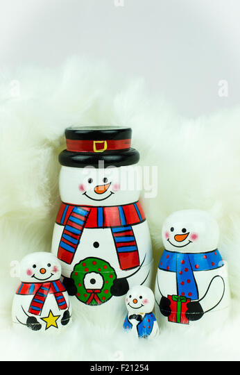 A family of snowman Christmas ornaments - Stock Image