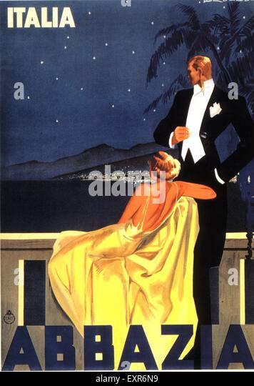 1930s Italy Abbazia Poster - Stock Image