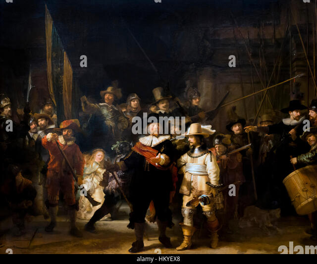 The Night Watch, Militia Company of District II under the Command of Captain Frans Banninck Cocq, by Rembrandt, - Stock Image