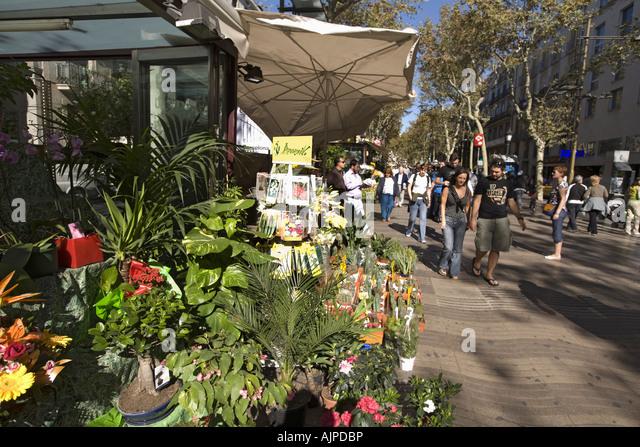 Spain Barcelona Las Ramblas tourists flower shop - Stock Image