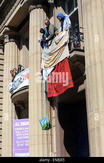 Liverpool, UK. 29th Apr, 2015. Despite a court eviction order passing, the Love Activists, remain inside and announced - Stock Image
