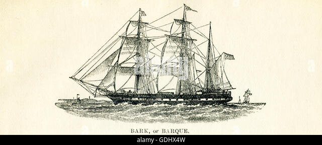 The vessel pictured in this 19th-century drawing is a bark (also spelled barque). - Stock-Bilder