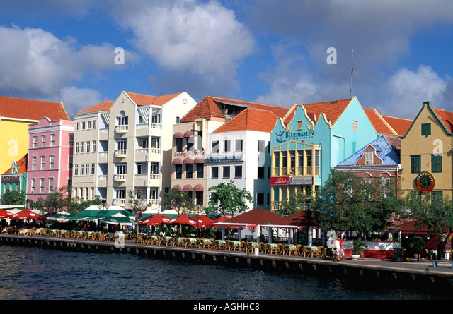 Curacao Willemstad Classic Dutch architecture waterfront skyline looking across channel - Stock Image