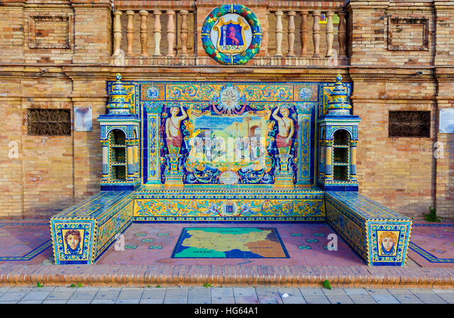 Glazed tiles bench of spanish province of Badajoz at Plaza de Espana, Seville, Spain - Stock Image
