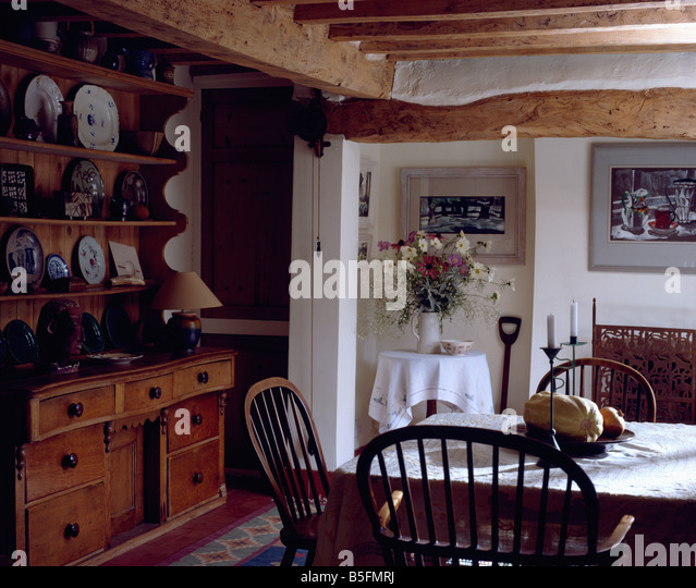 Country Dining Room Ladderback Chairs White Walls