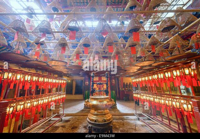 Man Mo Temple, Hong Kong, China incense coils. - Stock Image
