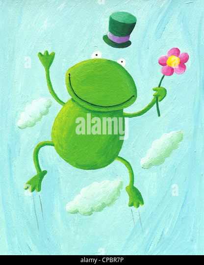 Acrylic illustration of funny frog jumping up - Stock Image