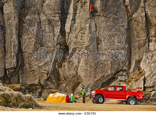 Male climber on sports climb, Hnappavellir, South East, Iceland - Stock Image