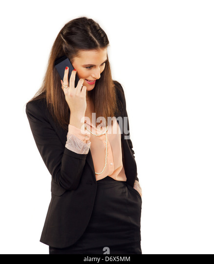 Confident young professional talking on phone - Stock-Bilder