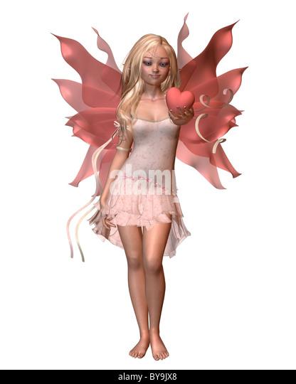 Pink Valentine Fairy - 1 - Stock Image