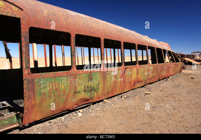Wreckage of old trains in the vicinity of Uyuni Bolivia  - Stock Image