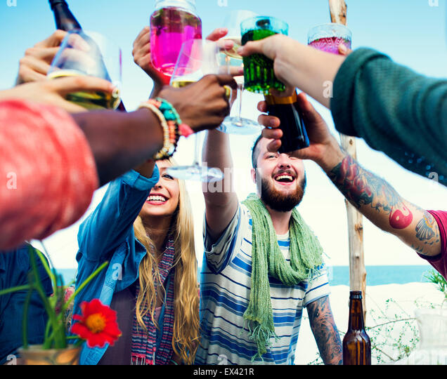 Beach Summer People Party Celebration Concept - Stock Image