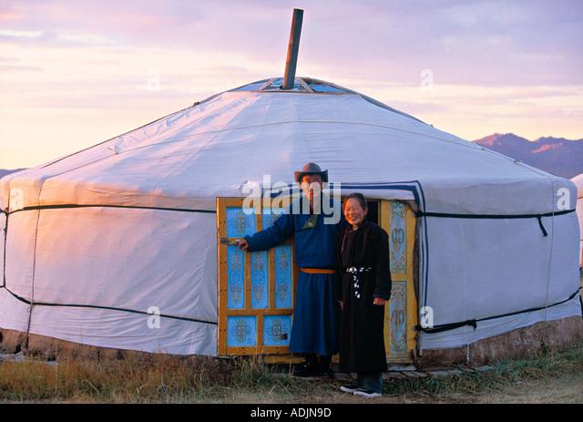 Yurts Mongolian dwellings Mongolia - Stock-Bilder
