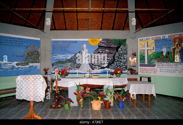 Dominica West Indies Caribbean Carib Reserve Territory Canoe Altar in Catholic Church at Mahaut - Stock Image
