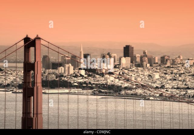 Usa, California, San Francisco, City Skyline and Golden Gate Bridge - Stock Image