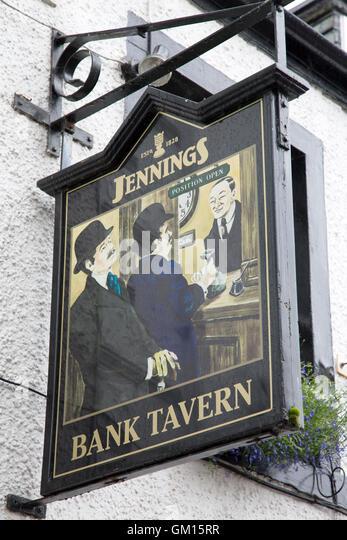 Bank Tavern Pub Sign, Keswick; Lake District; England; UK - Stock Image